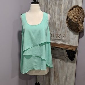 Gianna Bini mint green flowy layered tank